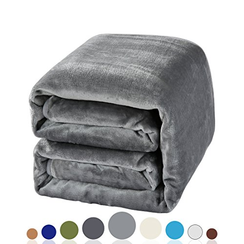 Balichun Luxury 330 GSM Fleece Blanket Super Soft Warm Fuzzy Lightweight Bed or Couch Blanket Twin/Queen/King Size(Twin ,Gray)