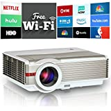 Video Projector Wifi, 4200 Lumens Home Theater 5.8'' LCD TFT Display, LED Android HDMI USB Support HD 1080P 720P, for TV DVD XBOX Blu Ray, Home Entertainment Presentation Movie Video Games Outdoors