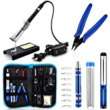 Anbes Soldering Iron Kit, [Upgraded] 60W Adjustable Temperature Welding Tool with ON-OFF Switch, 8-in-1 Screwdrivers, 2pcs Soldering Iron Tips, Solder Sucker, Wire Cutter,Tweezers,Soldering Iron Stand: more info