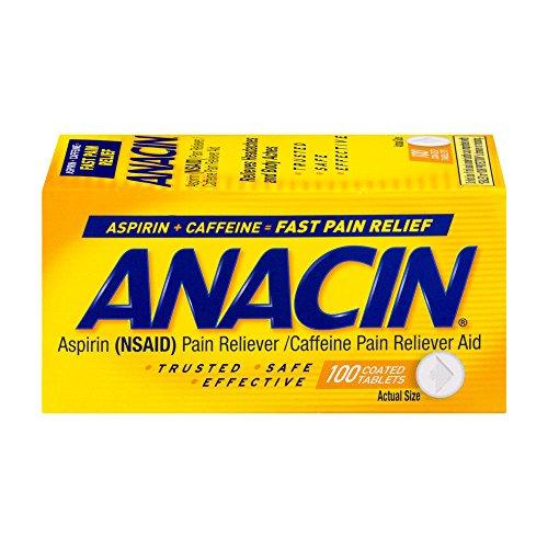 Anacin Aspirin (NSAID) caffeine pain reliever aid 100 count - Anacin Aspirin