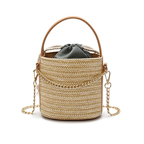 YSMYWM Women Straw Handbag Tote Summer Holiday Woven Bucket Bag Leisure Chain Shoulder Bag Crossbody Bag (Holiday Bucket)