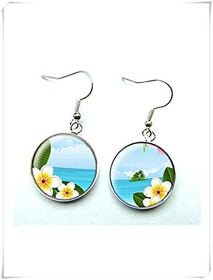 Ohrringe Cabochon Glas Landschaft Und Exotischen Blumen Dome Glas