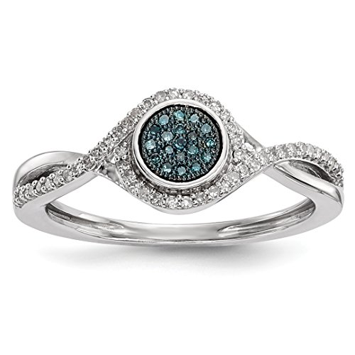 Ring Engagment Set Diamond - 925 Sterling Silver Blue White Diamond Band Ring Size 8.00 Fine Jewelry Gifts For Women For Her