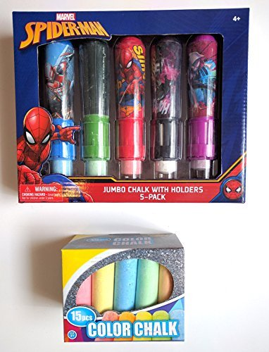 - Jumbo Sidewalk Chalk with Holders (Superman) 5-pack with extra Colored Chalk pack