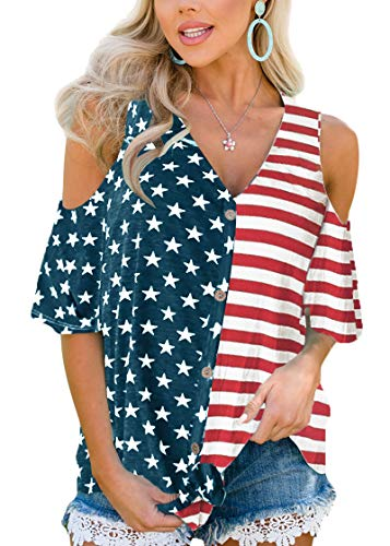 July 4th Womens American Flag Casual Blouse Short Sleeve V Neck Cold Shoulder Top M -