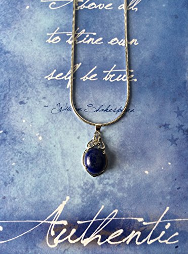 Smiling Wisdom - Blue Lapis Lazuli Gift Set - Unique Womens Gift - Pure Sterling Silver, Platinum Plated Pendant and European Pure Silver Chain - Be Authentic - Healing Energy Stone For Her