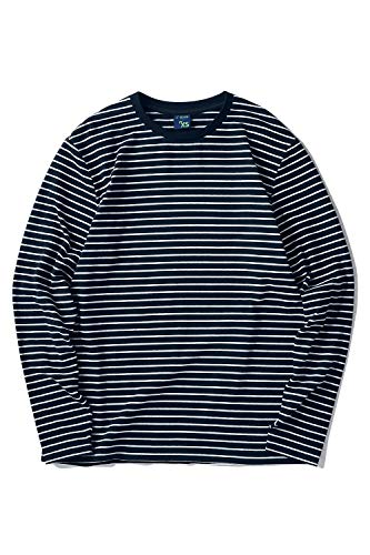 Zengjo Men's Casual Cotton Spandex Striped Crewneck Long-Sleeve T-Shirt Basic Pullover Stripe tee Shirt (S, Navy&White Narrow)
