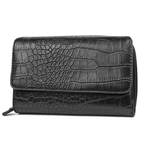 Mundi Big Fat Wallet Womens RFID Blocking Wallet Card Carrier Clutch Organizer (Black (Crocodile))