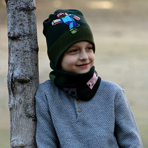 Organic Creeper - Minecraft hat beanie for boys khaki winter hat, 100% wool merino organic, warm creeper hat,knit bini hat kids, mine craft.