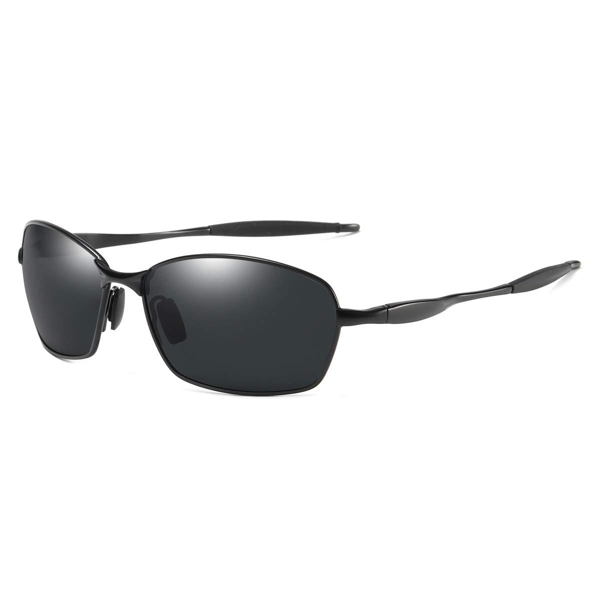121e8ea9e127 Amazon.com: Wraparound Polarized Sunglasses Large Square Rectangle Metal  Frame for Men Driving Fishing (Black/Gray, 60): Clothing