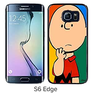 Charlie Brown Black Samsung Galaxy S6 Edge Screen Cover Case Luxurious and Fashion Design