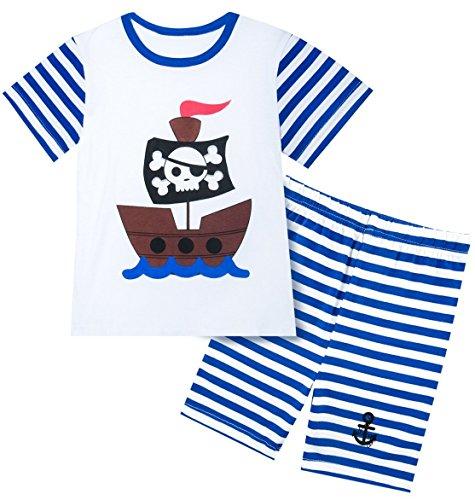 A&J Design Baby Boys' Infant 2 Piece Stripes Funny Short Sleeve Pajamas Set (6-12 Months, Pirate Skull) -