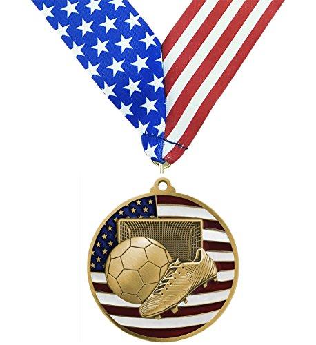 Gold Patriotic Soccer Medals - 2.75