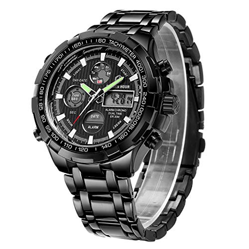 Affute Luxury Analog Digital Sport Mens Watches, Heavy, Huge, Stainless Steel Strap with Chronograph Waterproof Date Alarm, Color:Black ()