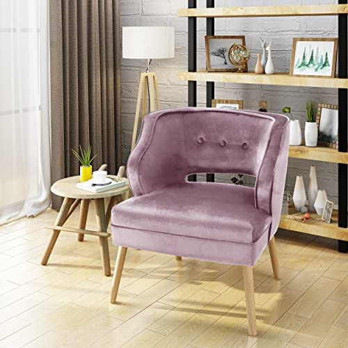 Christopher Knight Home Mariposa Mid-Century Velvet Accent Chair, Light Lavender Natural