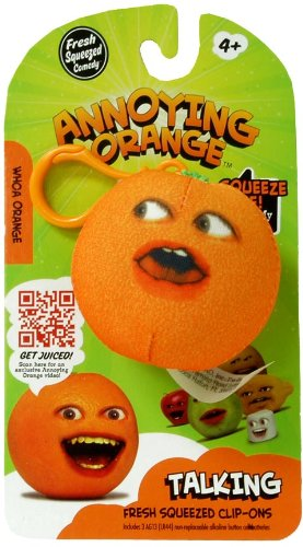 Annoying Orange TakeAlongs 2 1/4 Inch Talking Plush ClipOn Whoa Orange