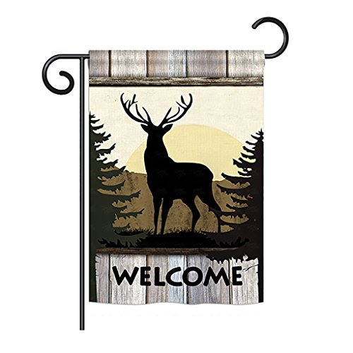 Breeze Decor G160110 Welcome Deer Nature Wildlife Impressions Decorative Vertical Garden Flag 13
