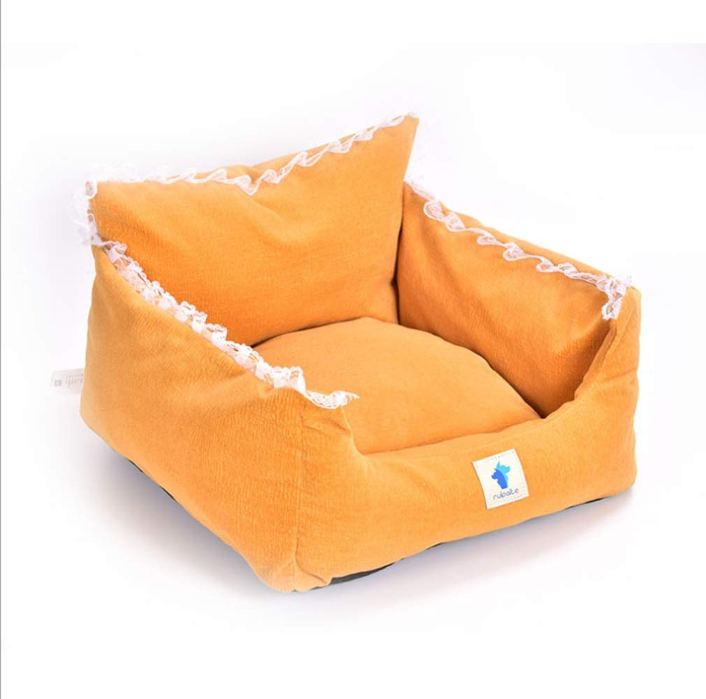 orange Small orange Small JOYIYUAN Pet Nest Kennel Cat Litter Winter Thickening Comfortable Warm Dog House (color   orange, Size   S)