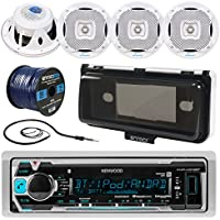 Kenwood KMR-M318BT In-Dash Marine Boat Audio Bluetooth USB Receiver W/ Waterproof Protective Cover Bundle Combo With 4x 400W 6.5 White Coaxial Speakers + Radio Antenna + 16g 50FT Speaker Wire