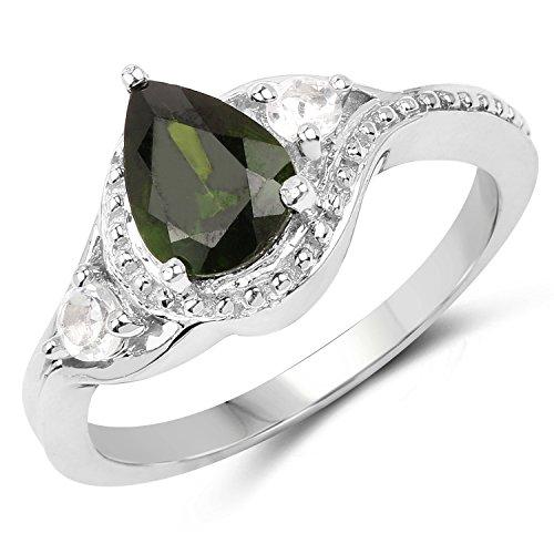 130-Carat-Genuine-Chrome-Diopside-White-Topaz-925-Sterling-Silver-Ring
