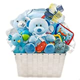 Newborn Baby Boy Gift Basket with Onesie, Plush, Toys and More