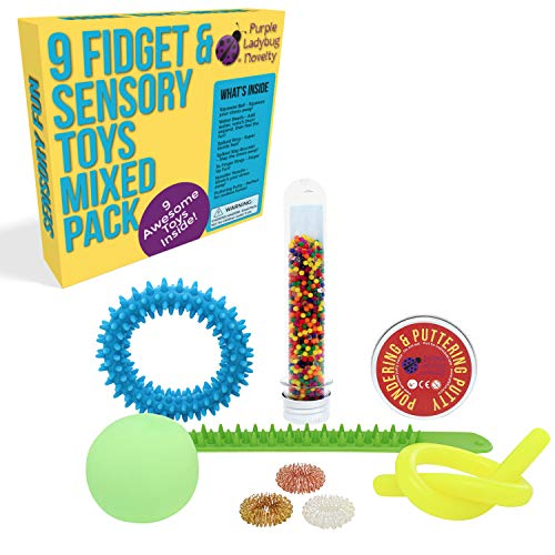 Fidget Toys Mix Pack For Kids - Updated & Improved Value Pack of 9 Sensory Toys for Stress Relief Includes Color Changing Putty, Water Beads, Noodle, Stress Ball, 2 Spiky Bracelets & 3 Fidget Rings