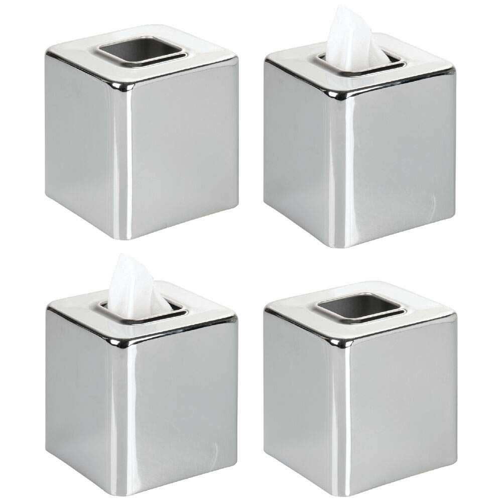 mDesign Modern Square Metal Paper Facial Tissue Box Cover Holder for Bathroom Vanity Countertops, Bedroom Dressers, Night Stands, Desks and Tables, 4 Pack - Chrome