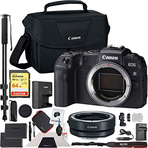 Canon EOS RP Mirrorless Camera 26.2MP Portable Full Frame Body Bundle with Lens Mount Adapter, 64GB Memory Card, Battery & Charger Kit, Monopod, Shoulder Bag and Cleaning Kit