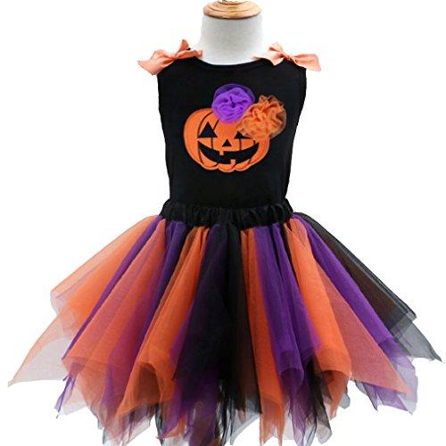 Little Halloween Pumpkin Black Skirt