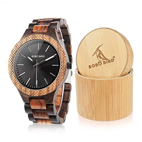 BOBO BIRD Mens Retro Zebra Wooden Watch, Large Size Quartz Watch with Black Face Wristwatch Best Gift