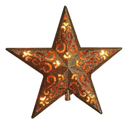 Noma/Inliten-Import V49136 Christmas Tree-Top Star, Gold Glitter, 10-Light