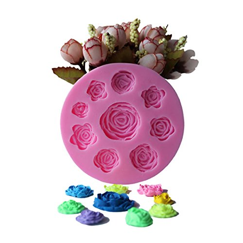 Witkey 9 Rose Flowers Shape Non Stick Ice Cube Tray Chocolate Molds Candy Molds Bread Molds Cake Pan Silicone Baking Molds Pop Moulds