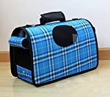 Cheap Pesp Pet Carrier Folding Portable Travel Bags Dog House Cage Carrier Puppy Cat Tote Cage Bag (Mudium, Blue)