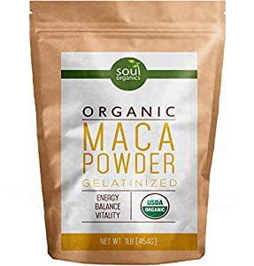 #1 Maca Powder, Organic From Maca Root - Purest Premium Vegan Superfood, USDA Certified and Gelatinized from Raw, Boosts Energy and Fertility, Yellow Maca Base, Black and Red Maca Blended In, 1 lb