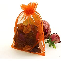 "CMAJOR Organza Bags 100pcs Satin Drawstring Wedding Favor Jewelry Candy Watch Party Gift Pouch (4"" x 6"", Orange)"