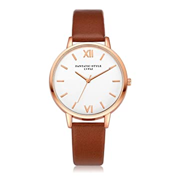 Xinantime Relojes Mujer,Xinan Reloj de Pulsera Reloj Redondo Cuero Imitación (Café): Amazon.es: Deportes y aire libre