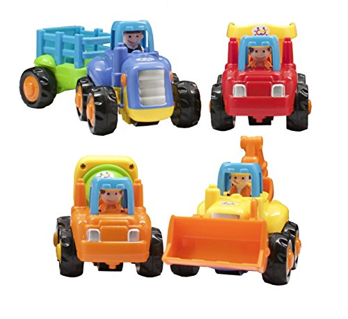 TECHEGE Toys Happy Engineering Vehicles Friction Powered Kids Tractor Dump Truck Cement Truck Excavator by Techege...