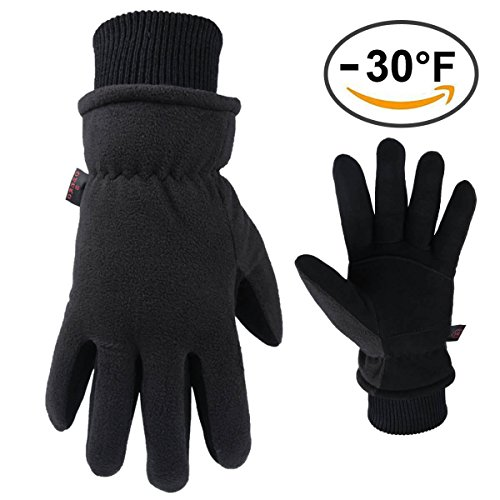 OZERO Driving Gloves Winter Warm Insulated Glove with Deerskin Suede Leather Palm & Thermal Polar Fleece Back - Windproof & Waterproof - Hand Warmers in Cold Weather for Men and Women (Black,X-Large)