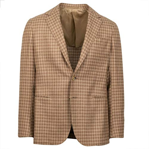 Caruso Brown Check Camel Hair 3 Roll 2 Button Sport Coat