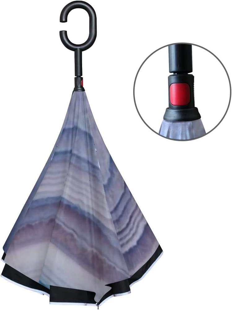 Double Layer Inverted Inverted Umbrella Is Light And Sturdy Detail Translucent Slice Natural Stone Agate Reverse Umbrella And Windproof Umbrella Edge