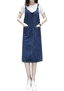 9b5e3786f7a Aimeely Classic Women Denim Casual Skirt V Neck Overall Jean Dress Plus Size