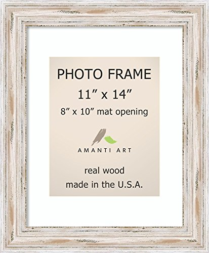 Amanti Art Picture Frame, 11x14 Matted to 8x10 Alexandria White Wash Wood: Outer Size 14 x 17 - Wood Picture Frame Frames Whitewash