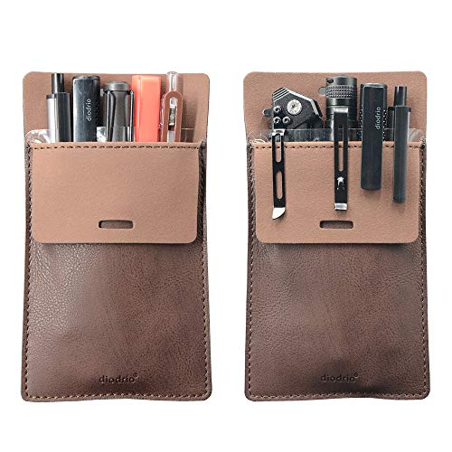 Pocket Protector, Leather Pen EDC Pouch Holder Organizer, for Shirts Lab Coats, Hold 5 Pens, New Design to Keep Pens Inside When Bend Down. No Breaking of Pen Clip. Thick PU Leather, 2 Per Pack. ()