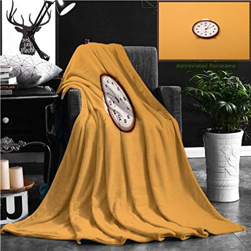 Nalagoo Unique Custom Flannel Blankets Vintage Brown Alarm Clock On Yellow Ocher Background Trendy Minimal Flat Lay Concept Super Soft Blanketry for Bed Couch, Twin Size 70