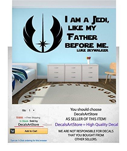 pared calcomanías Cita Arte de Pared Vinilo I Am A Jedi Star Wars calcomanía recámara Home Decor Nursery recámara...