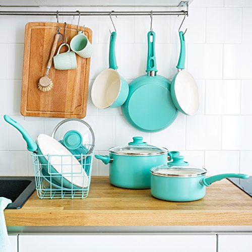 GreenLife CW000531-002 Soft Grip Absolutely Toxin-Free Healthy Ceramic Nonstick Dishwasher/Oven Safe Stay Cool Handle Cookware Set, 14-Piece, Turquoise by GreenLife (Image #6)