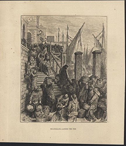 Billingsgate Landing the Fish London 1872 antique wood engraved print ()