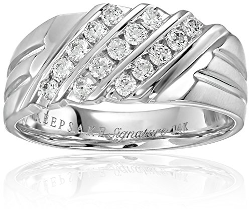 Keepsake Wedding Rings - Men's Keepsake Signature 14k White Gold Channel Set Wedding Band (1/2cttw, H-I Color, I1 Clarity), Size 9