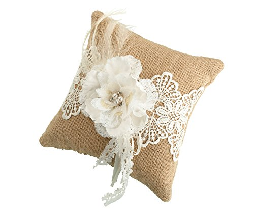 Lace Wedding Ring Pillow - Lillian Rose Rustic Burlap Country Lace Wedding Ring Pillow