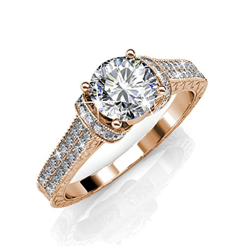 Date Engraved Ring - Cate & Chloe Laya Ruler 18k Rose Gold Plated Ring, Engagement Ring, Wedding Ring, Bridal Jewelry, Promise Ring, Engraved Ring, Filigree MSRP $176